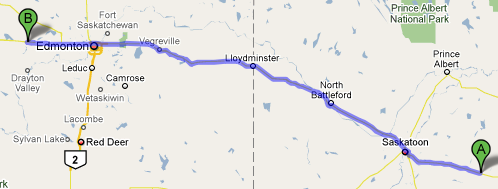 Dafoe to Entwistle, 750km 다포에서 엔트위슬까지 약 750km