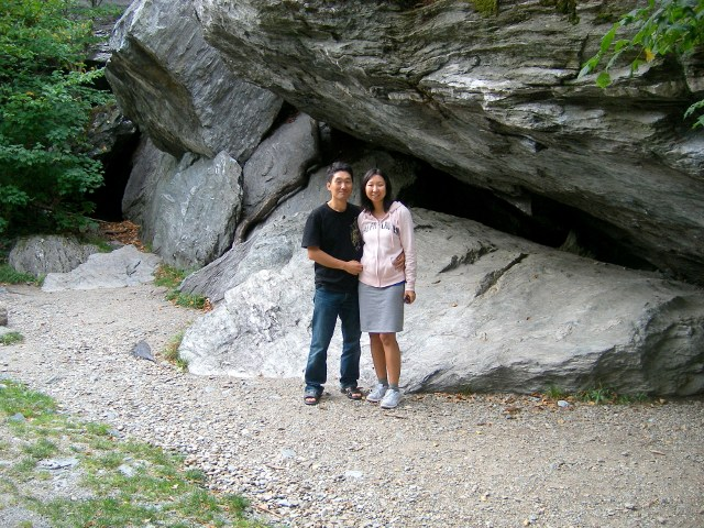 Under a huge rock