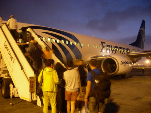 Egypt Air Boarding by Ladder