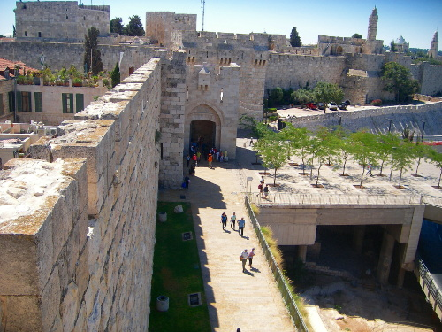 Jaffa Gate from North Route of Ramparts Walk