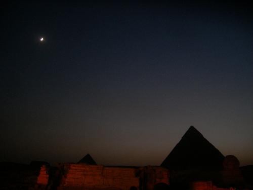 Pyramids and Moon