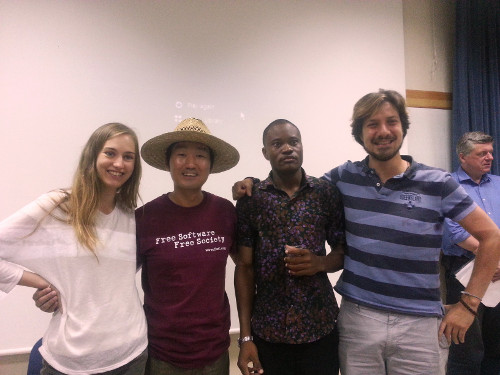 Classmates.  Lina from Germany, me, Cletos from Ghana, Mateo from Italy.  Anna from Switcherland is not here